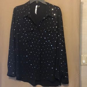 Sparkle NY Collection. Button down blouse